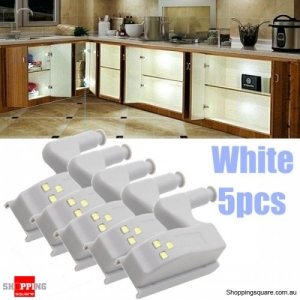 5pcs Battery Powered Hinge LED Night Light For Kitchen Cabinet Cupboard Closet - White 5PCs