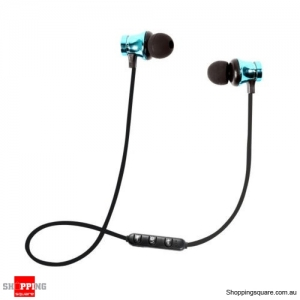 XT-11 Bluetooth Magnetic Headphones Mic - Blue Colour