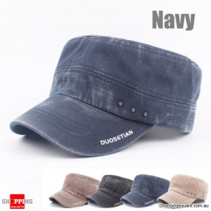 Vintage Solid Washed Flat Cap Hats Army Hat Adjustable Baseball - Navy
