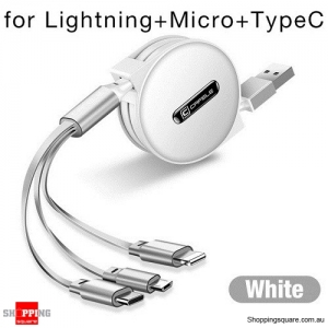 Cafele 3 in 1 Retractable USB Cable for iPhone Cable Micro USB Type-C - White