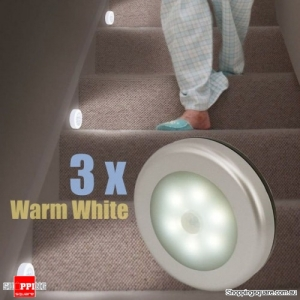 3pcs Wireless Motion Sensor LED Night Light Battery Powered Cabinet Lamp Anti dazzle - Warm White