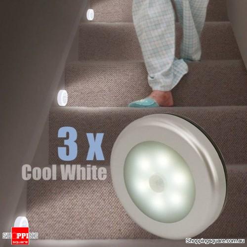 3pcs Wireless Motion Sensor LED Night Light Battery Powered Cabinet Lamp Anti dazzle - Cool White