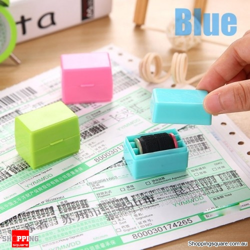 Confidential Seal Roller Stamp Messy Code Security Secret Seal Hide ID Garbled Self-Inking - Blue