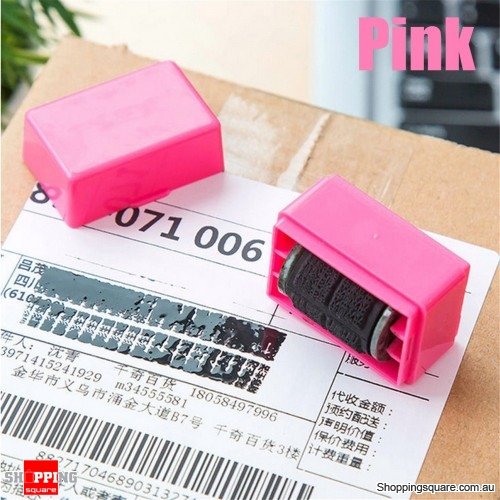 Confidential Seal Roller Stamp Messy Code Security Secret Seal Hide ID Garbled Self-Inking - Pink