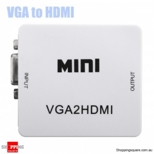 1080P Mini VGA To HD Audio Video Converter Box Adapter with USB 3.5mm Cable