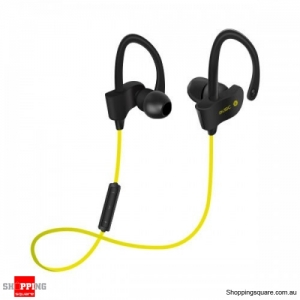 Splash Proof Stereo In-ear Hock Bass Bluetooth 4.1 Earphone with Mic Sport Running - Yellow