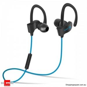Splash Proof Stereo In-ear Hock Bass Bluetooth 4.1 Earphone with Mic Sport Running - Blue