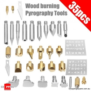 35pcs Wood Burning And Soldering Iron Tips Tool Pyrography Set With Stencils Kit embosing Tip
