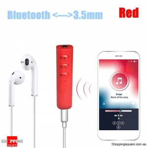Wireless Bluetooth 3.5mm AUX Car Stereo Audio Music Receiver Adapter Hands Free - Red