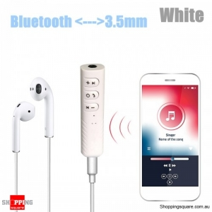 Wireless Bluetooth 3.5mm AUX Car Stereo Audio Music Receiver Adapter Hands Free - White