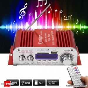 2 Channel Hi-Fi Audio Stereo Mini Amplifier Car Home MP3 USB FM SD w/ Remote -Red