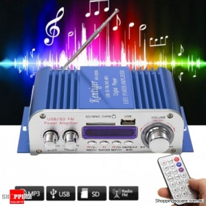 2 Channel Hi-Fi Audio Stereo Mini Amplifier Car Home MP3 USB FM SD w/ Remote - Blue