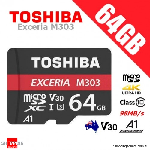 Toshiba Exceria 64GB micro SD SDXC Memory Card UHS-I U3 V30 A1 4K Ultra HD 98MB/s