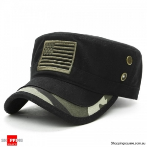 Mens Washed Cotton Camouflage Badge Cadet Army Cap Adjustable Military Hat Flat - Black