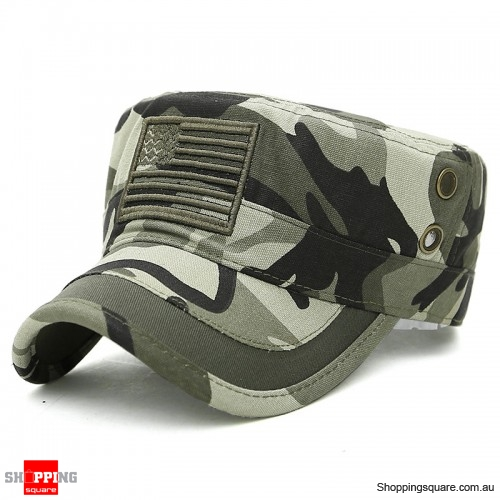 Mens Cotton Camouflage Badge Cadet Army Cap Outdoor Adjustable Military Hat  Flat Top Cap-Camouflage - Shoppingsquare Australia
