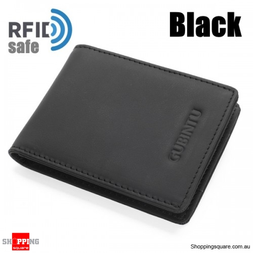 Men Genuine Leather RFID Anti-theft Cowhide Wallet Card Holder - Black