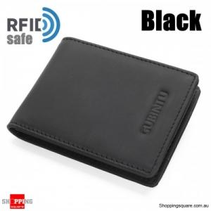 Men Genuine Leather RFID Anti-theft Cowhide Wallet Card Holder - Black