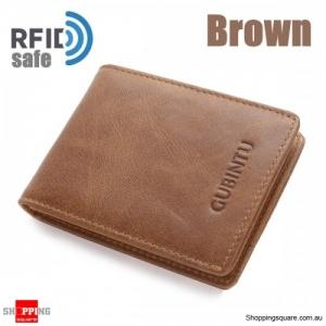 Men Genuine Leather RFID Anti-theft Cowhide Wallet Card Holder - Brown