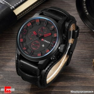 Fashion Men Quartz Wristwatch Creative Leather Strap Round Watch Date Display - Black