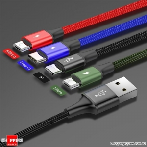 BASEUS 3.5A 1.2m 4 in 1 Fast Charging USB Cable for iPhone XS MAR XR X 8 Samsung Galaxy S9 S8 - Dual Micro USB Style