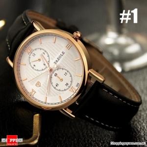 Men Quartz  Watch Luminous Leather soft Strap  Wrist Watch #1