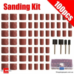 100pcs Grit Drum Sanding Kit Fit Dremel Rotary Tools with Sanding Mandrels Box set