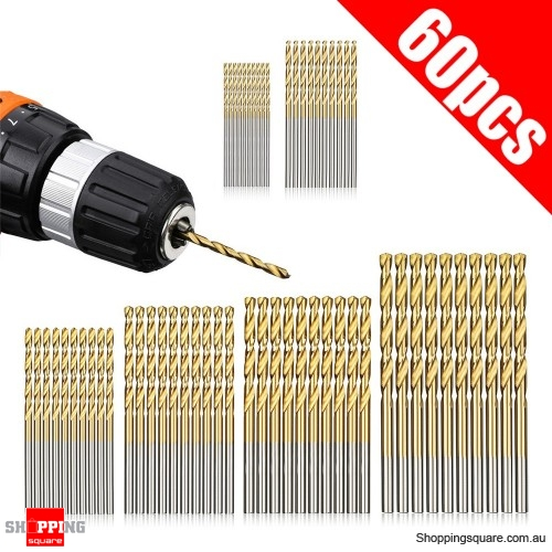 60pcs 1/ 1.5/ 2/ 2.5/ 3/ 3.5mm Titanium Coated Twist Drill Bit Set Tools DIY