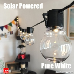 Solar Powered 5M 20LED 8Mode Bulbs String Light Fairy Lamp Rechargeable Outdoor Party Decor-Pure White