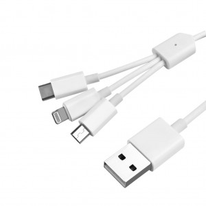 3 in 1 USB to Micro USB / Lightning / Type-C Charging Cable 1.2m