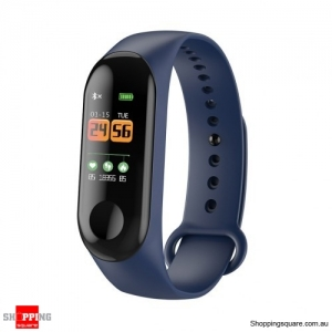M3C 0.96 inch IP68 Waterproof Bluetooth 4.0 Smart Fitness Bracelet Smartwatch - Navy