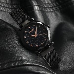 MERGIC Starry Night Stainless Steel Wrist Quartz Watch for Women Black Colour