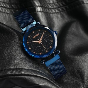 MERGIC Starry Night Stainless Steel Wrist Quartz Watch for Women Blue Colour