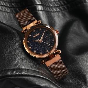MERGIC Starry Night Stainless Steel Wrist Quartz Watch for Women Brown Colour