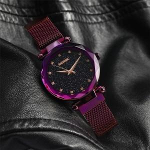 MERGIC Starry Night Stainless Steel Wrist Quartz Watch for Women Purple Colour