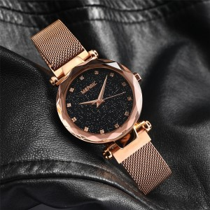 MERGIC Starry Night Stainless Steel Wrist Quartz Watch for Women Rose Gold Colour