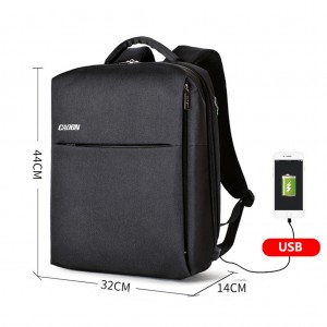 Anti-theft Waterproof Laptop Travel Backpack with USB Charging Port & Headphone Hole - Black Colour