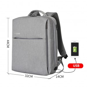 Anti-theft Waterproof Laptop Travel Backpack with USB Charging Port & Headphone Hole - Gray Colour