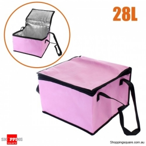 28L Non-woven Reusable Fresh keeping Bag with Zipper handle for Picnic Lunch Bag Grocery Bag - Pink