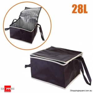 28L Non-woven Reusable Fresh keeping Bag with Zipper handle for Picnic Lunch Bag Grocery Bag - Brown