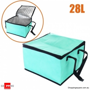 28L Non-woven Reusable Fresh keeping Bag with Zipper handle for Picnic Lunch Bag Grocery Bag - Green
