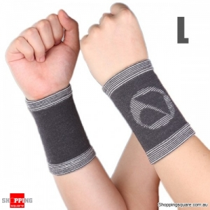 Bamboo Charcoal fiber Wrist Support Sports Wrist Sleeve Brace Pad - L