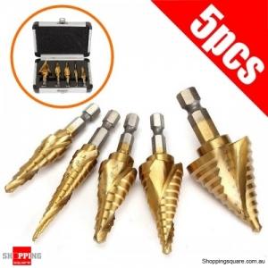 5Pcs HSS Titanium Spiral Step Drill Bit Set 1/4 Inch Hex Shank Hole Cutter for woodworking DIY