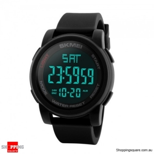 SKMEI 1257 Men Multifunctional 50m Waterproof Sports Digital Watch with Dual Time Zone - Black
