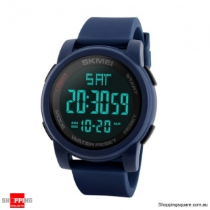 SKMEI 1257 Men Multifunctional 50m Waterproof Sports Digital Watch with Dual Time Zone - Blue
