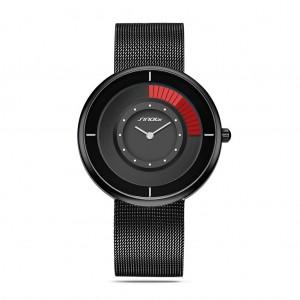 Waterproof Stainless Steel Man Sports Quartz Watch - Black & Red