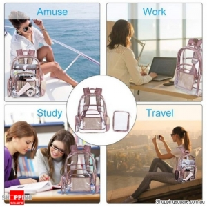 Waterproof Transparent PVC Backpack Laptop Bag with Small Pouch - Rose Gold