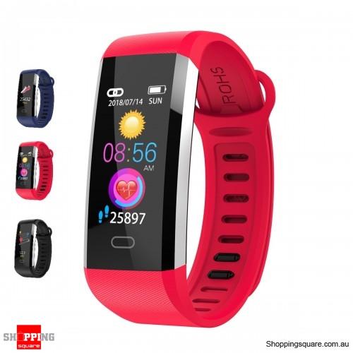 TFT Screen Waterproof Smart Watch Heart Rate Sleep Monitor Sport Fitness Bracelet - Red