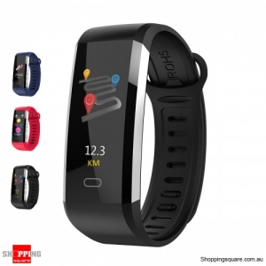 TFT Screen Waterproof Smart Watch Heart Rate Sleep Monitor Sport Fitness Bracelet - Black