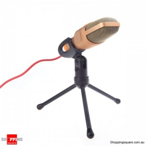 3.5mm Wired Stereo Microphone with Holder Stand Record - Gold