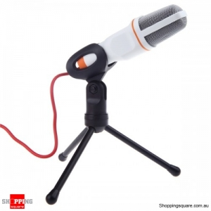 3.5mm Wired Stereo Microphone with Holder Stand Record - White